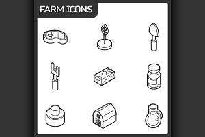 Farm outline isometric icons