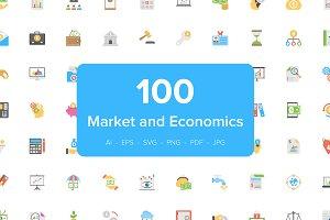 100 Flat Market and Economics Icons
