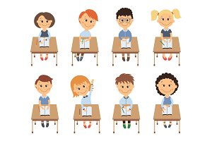 Cute elementary school kids in classroom set