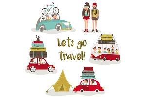 Road trip concept, set of people trvelling by car