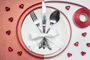 valentine's day, white plate, spoon