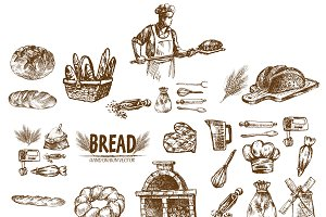 Bundle of 20 bread vectors set 15