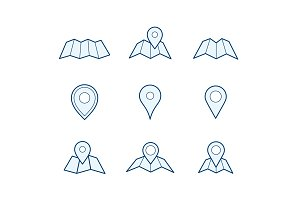 Navigation map and pin icons