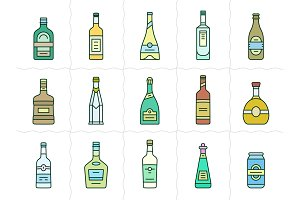 Aalcohol bottles icon set