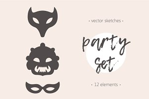 Set of funny masks for party