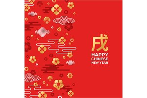 Chinese New Year greeting card with patterns on red