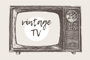 Illustration of a vintage TV