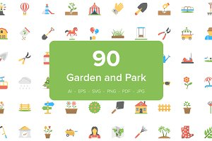 90 Garden and Park Flat Icons Set