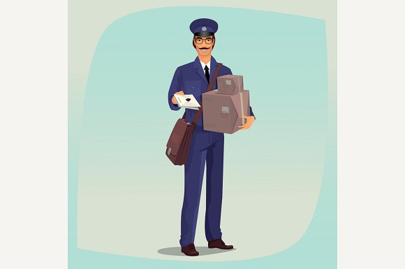 Postman In Front Face With Parcels