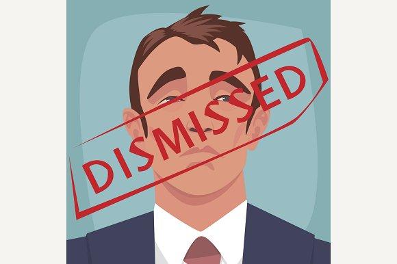 Red stamp Dismissed on face of man