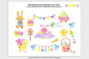 Easter Spring Watercolor Clipart