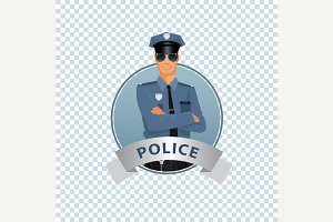 Round icon with policeman