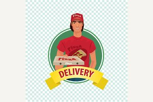 Round icon with pizza courier