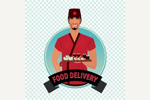Round icon with food courier