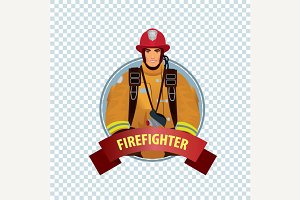 Round icon with firefighter