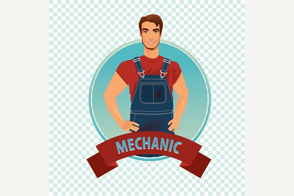 Round Icon With Car Mechanic