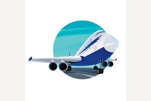 Round emblem with passenger plane