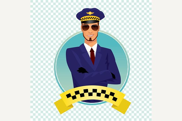 Round Icon With Stylish Taxi Driver