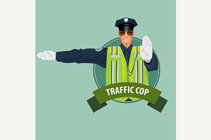 Round icon traffic police officer