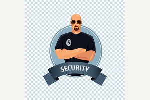 Round icon with security