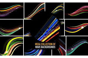 Collection of wavy lines on black, abstract backgrounds