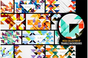 Set of triangles repetition mosaic backgrounds