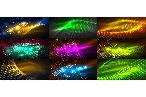 Mega collection of neon glowing particle waves
