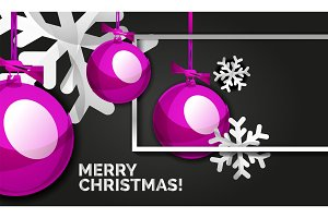 Christmas and New Year banner card, Christmas balls, black background