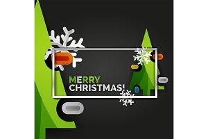 Christmas tree greeting banner, black background