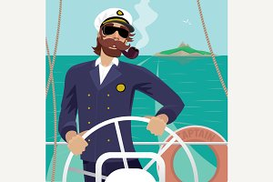 Captain with ships steering wheel