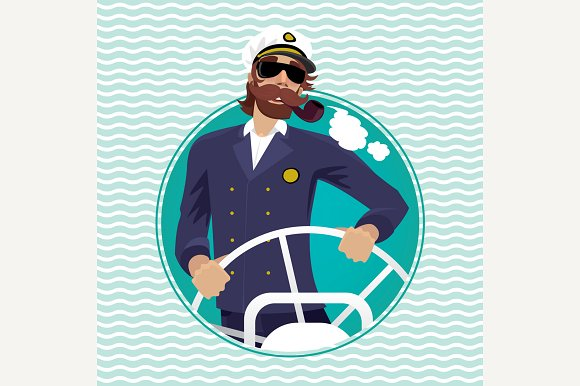 Sea Captain In Round Frame