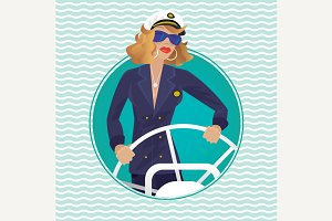 Sea captain female in round frame