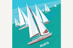 Sailing regatta with lots of boats