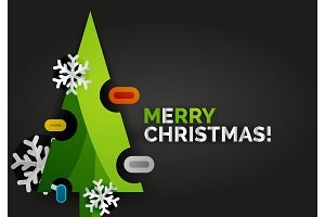 Christmas tree greeting banner, black background