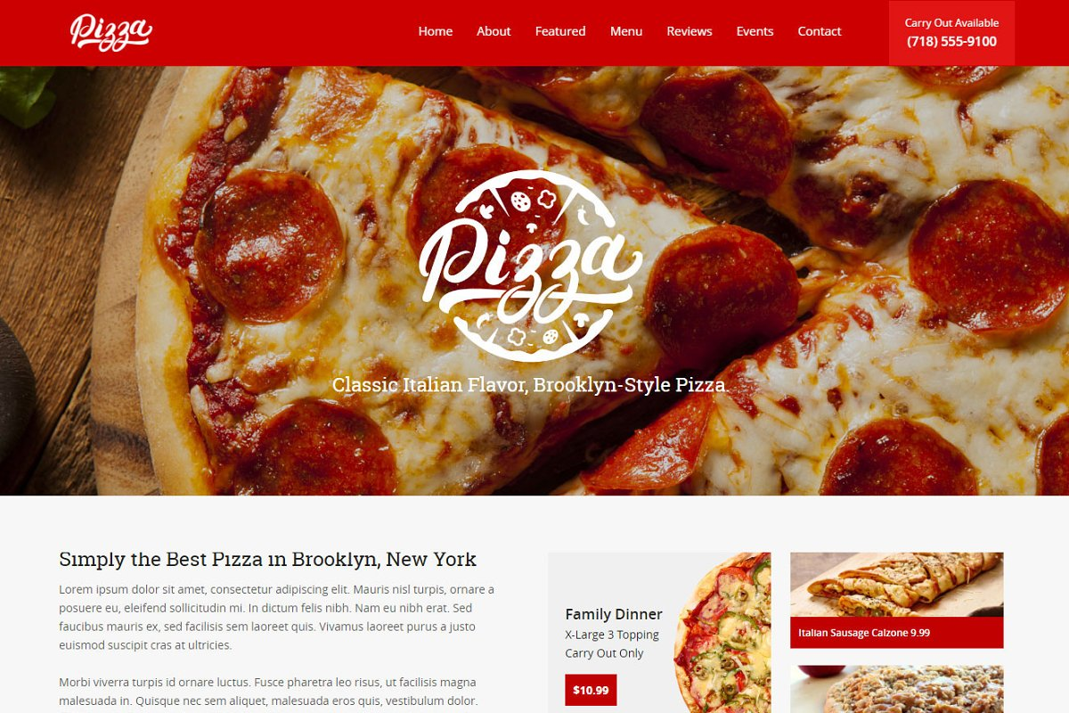 Pizza Restaurant Joomla Landing Page ~ Landing Page Templates