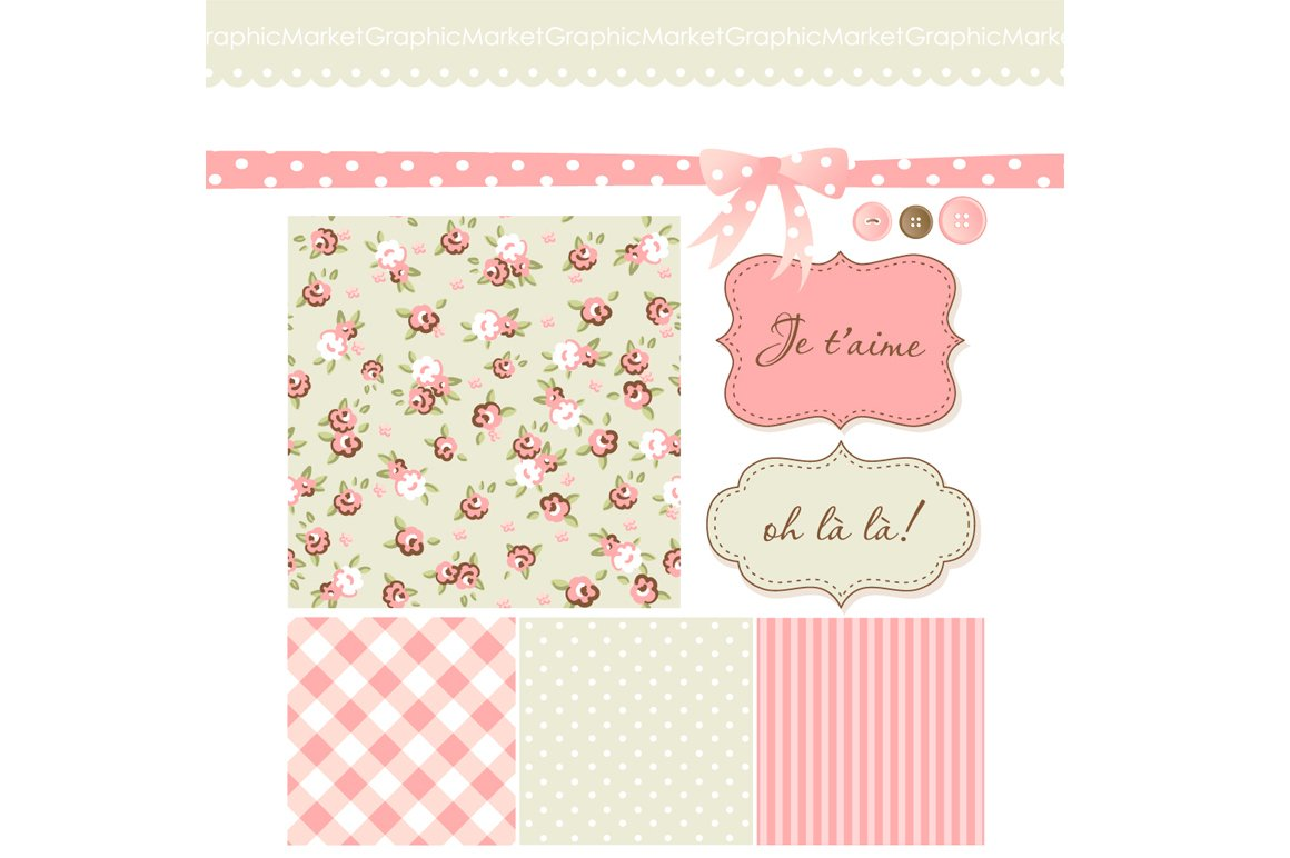 Shabby Chic Scrapbook Papers Clipart Illustrations Creative Market