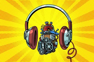 Headphones and steampunk heart motor