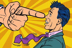 Boss threatens finger to businessman