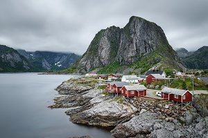 Traditional red rorbu cottages in Hamnoy village, Norway