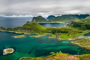 Panorama view from Offersoykammen, Lofoten islands, Norway
