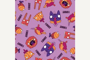 Seamless pattern animals on pink