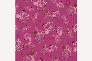 Seamless magenta pattern bicycles