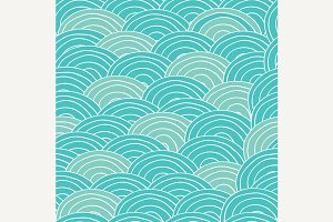 Seamless pattern with cyan sea waves