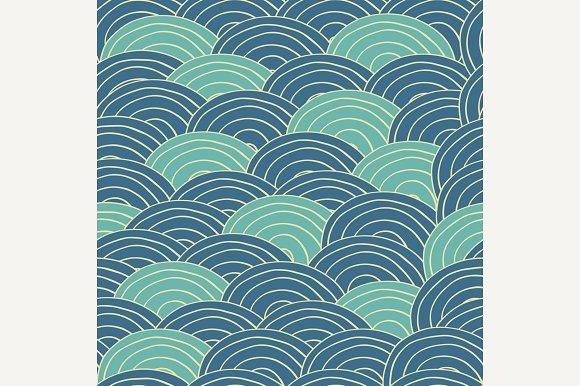 Seamless Pattern Blue Sea Waves