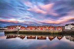 Sunset over harbor houses in Svolvaer, Lofoten islands, Norway