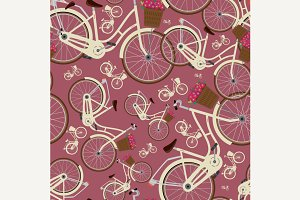 Seamless red pattern with bicycles