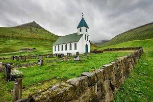 Church with cemetery in Gjogv, Faroe Islands, Denmark