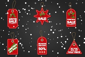 Christmas sale paper tag vector