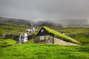 Historic stone house in Faroe Islands