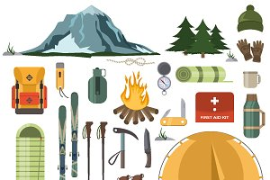 Mountain winter ski hiking vector